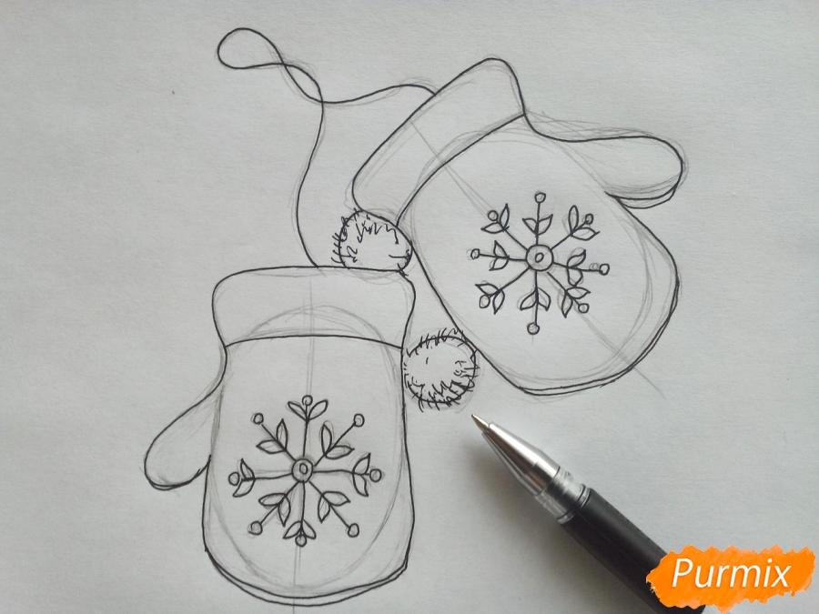 Рисуем варежки карандашами - шаг 4