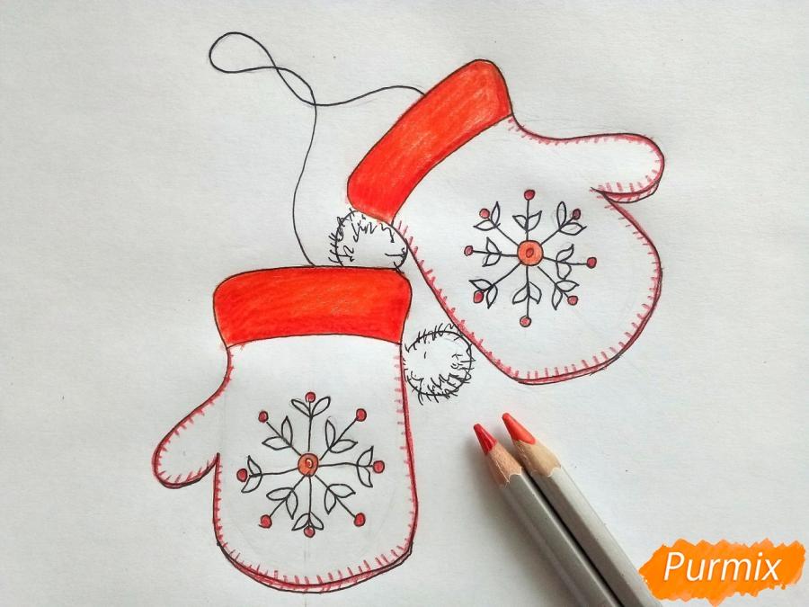 Рисуем варежки карандашами - шаг 5