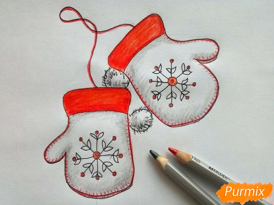 Рисуем варежки карандашами - шаг 6