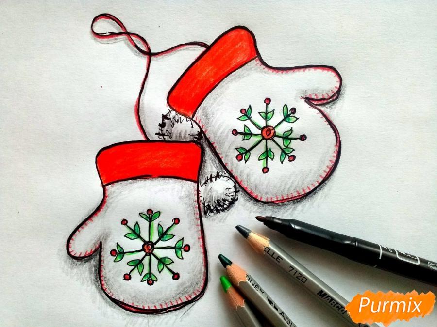 Рисуем варежки карандашами - шаг 7
