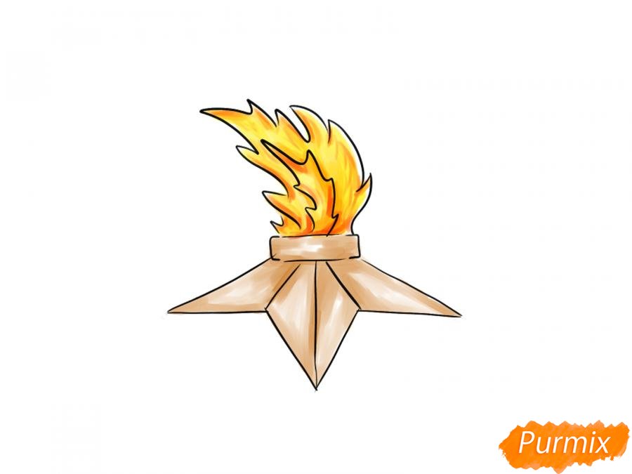 Рисуем вечный огонь для детей - шаг 7