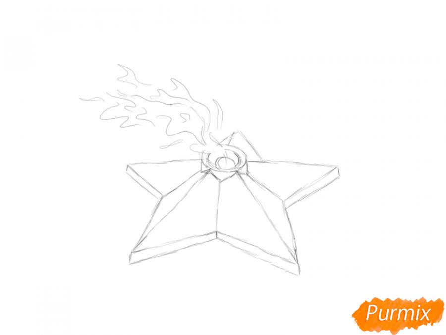 Рисуем Вечный огонь карандашами - шаг 4
