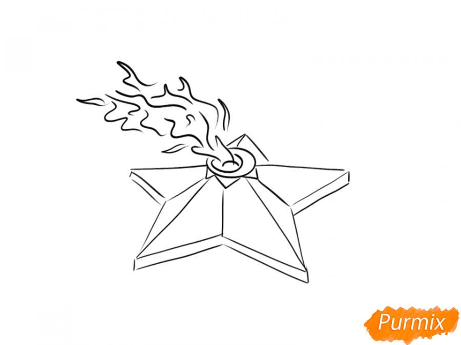 Рисуем Вечный огонь карандашами - шаг 5