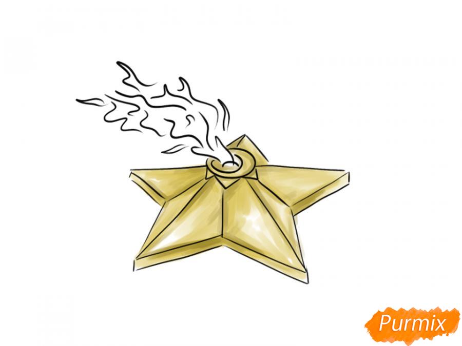 Рисуем Вечный огонь карандашами - шаг 6