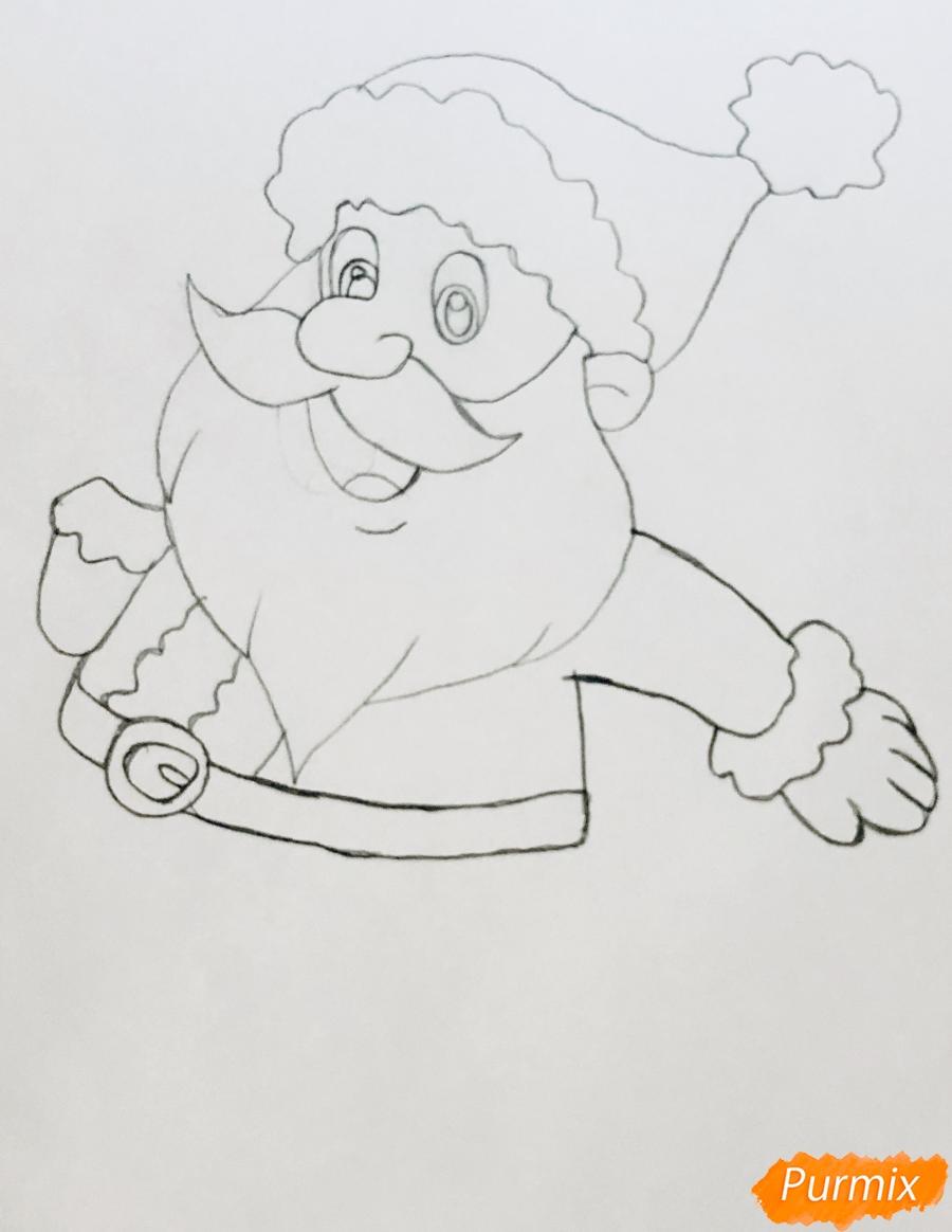 Рисуем весёлого Санта Клауса с мешком подарков - шаг 3