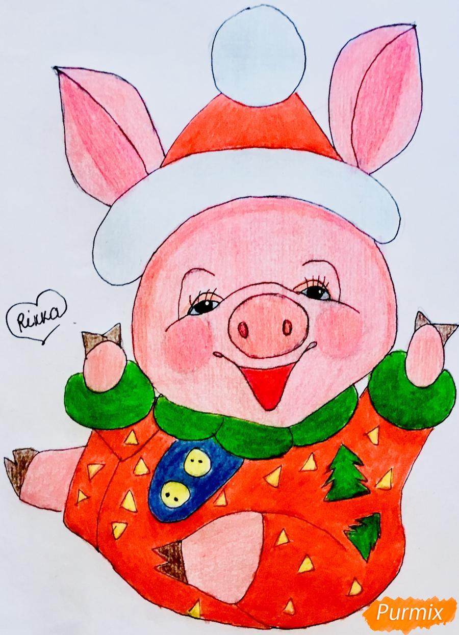 Рисуем весёлую и милую новогоднюю свинку цветными - шаг 12
