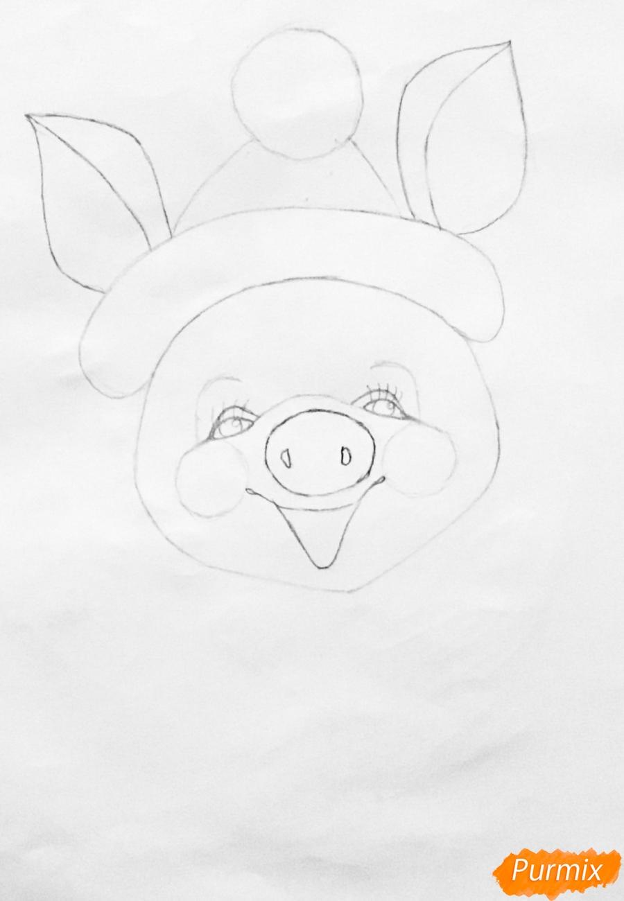 Рисуем весёлую и милую новогоднюю свинку цветными - шаг 4