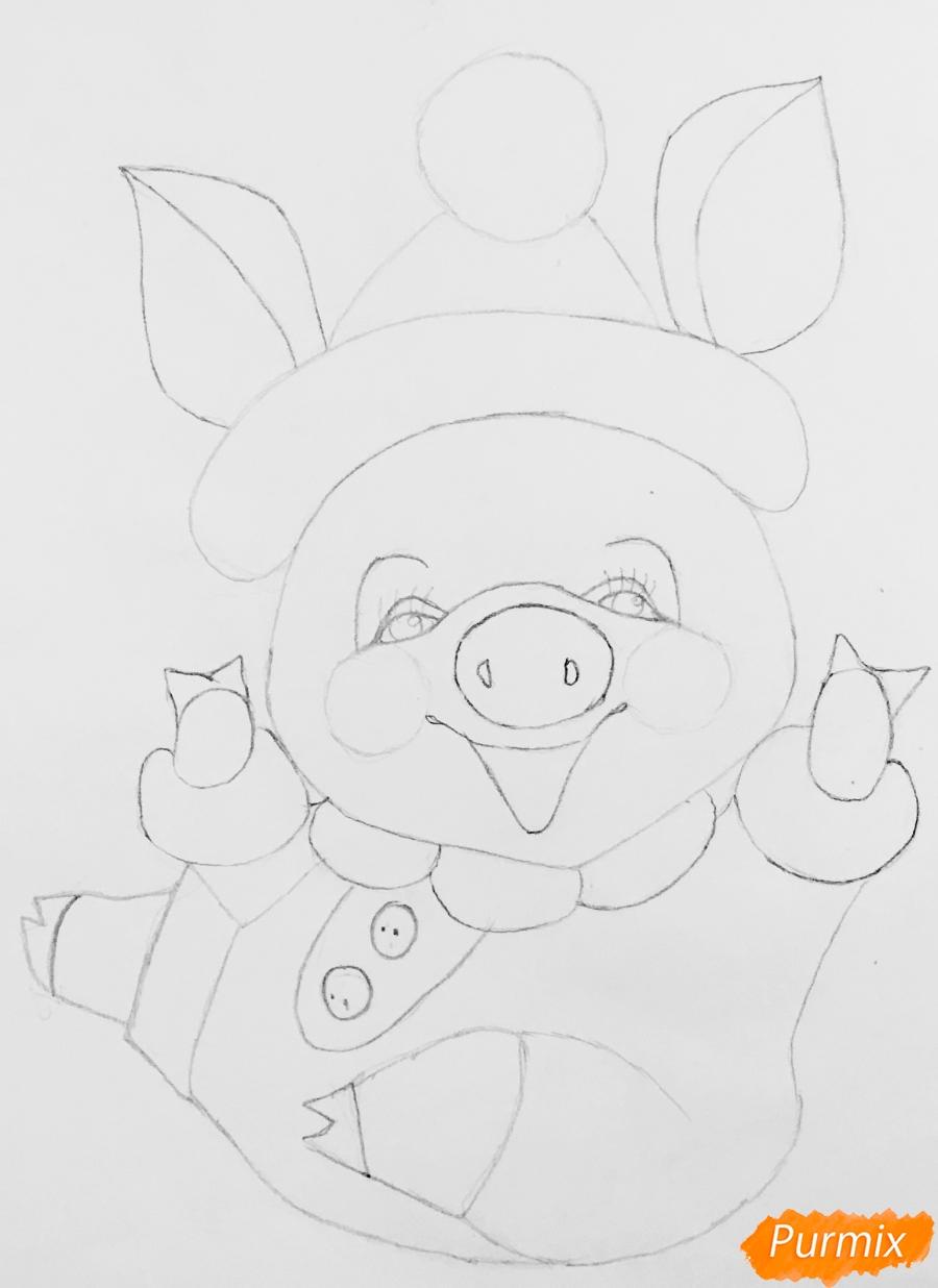 Рисуем весёлую и милую новогоднюю свинку цветными - шаг 6