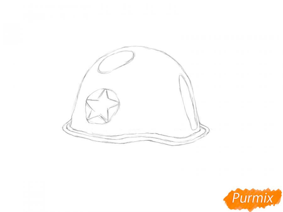 Рисуем военную каску к 9 мая карандашами или гуашью - шаг 4