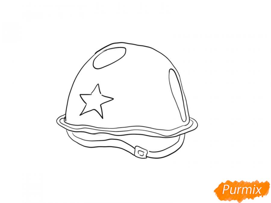 Рисуем военную каску к 9 мая карандашами или гуашью - шаг 6