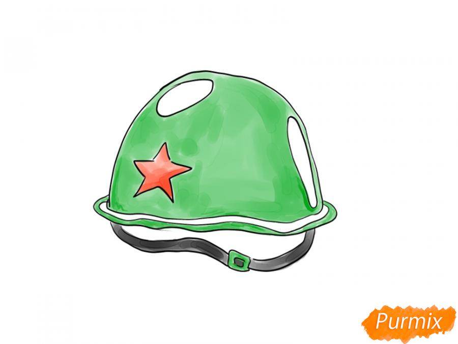 Рисуем военную каску к 9 мая карандашами или гуашью - шаг 8