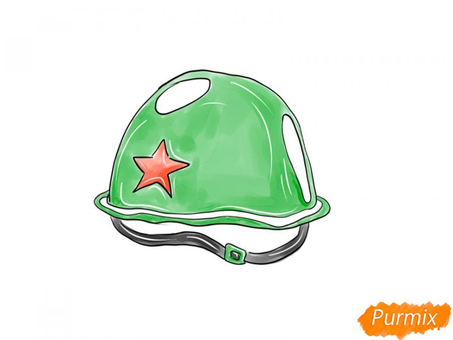 Рисуем военную каску к 9 мая карандашами или гуашью - шаг 9