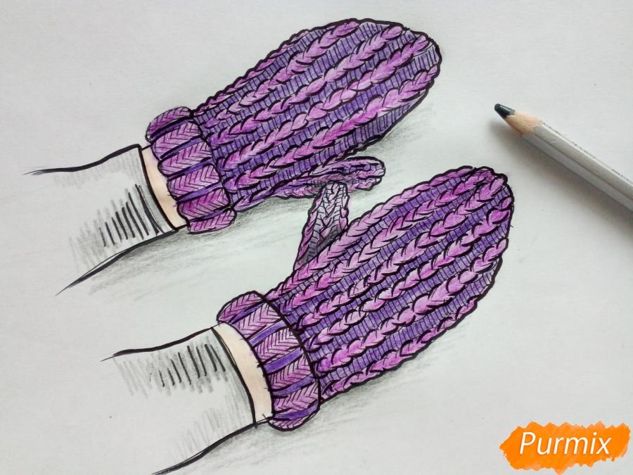 Рисуем вязаные варежки на руках - шаг 8