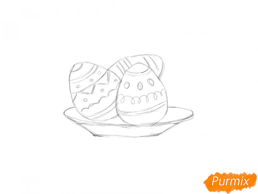 Рисуем яйца на тарелке к Пасхе - шаг 4