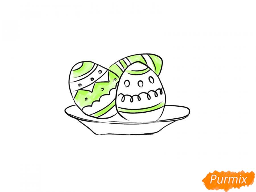 Рисуем яйца на тарелке к Пасхе - шаг 6