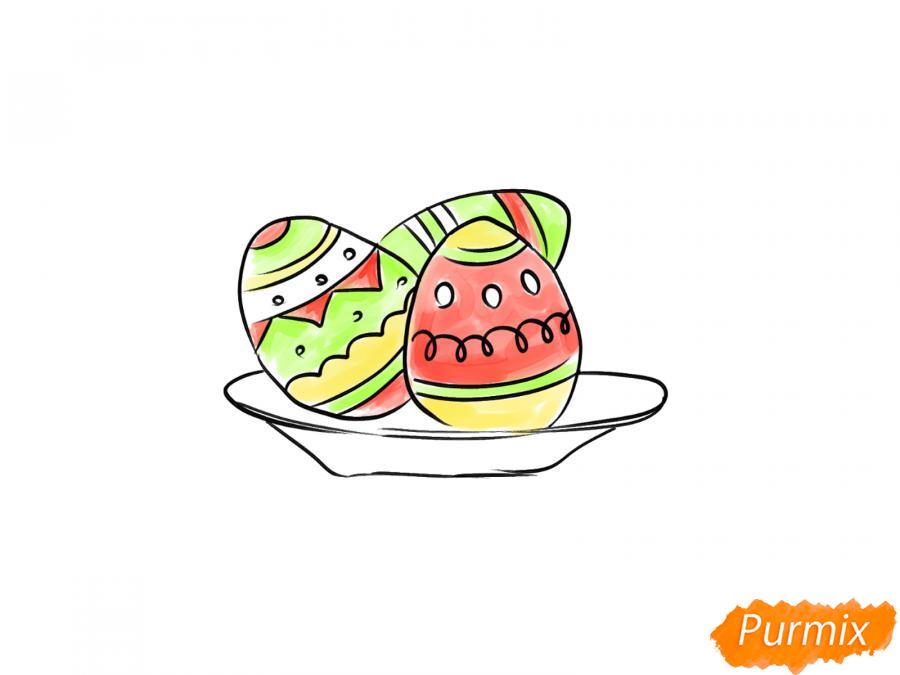 Рисуем яйца на тарелке к Пасхе - шаг 7