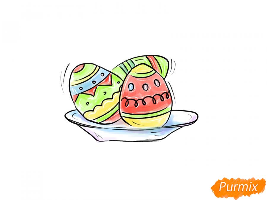 Рисуем яйца на тарелке к Пасхе - шаг 9