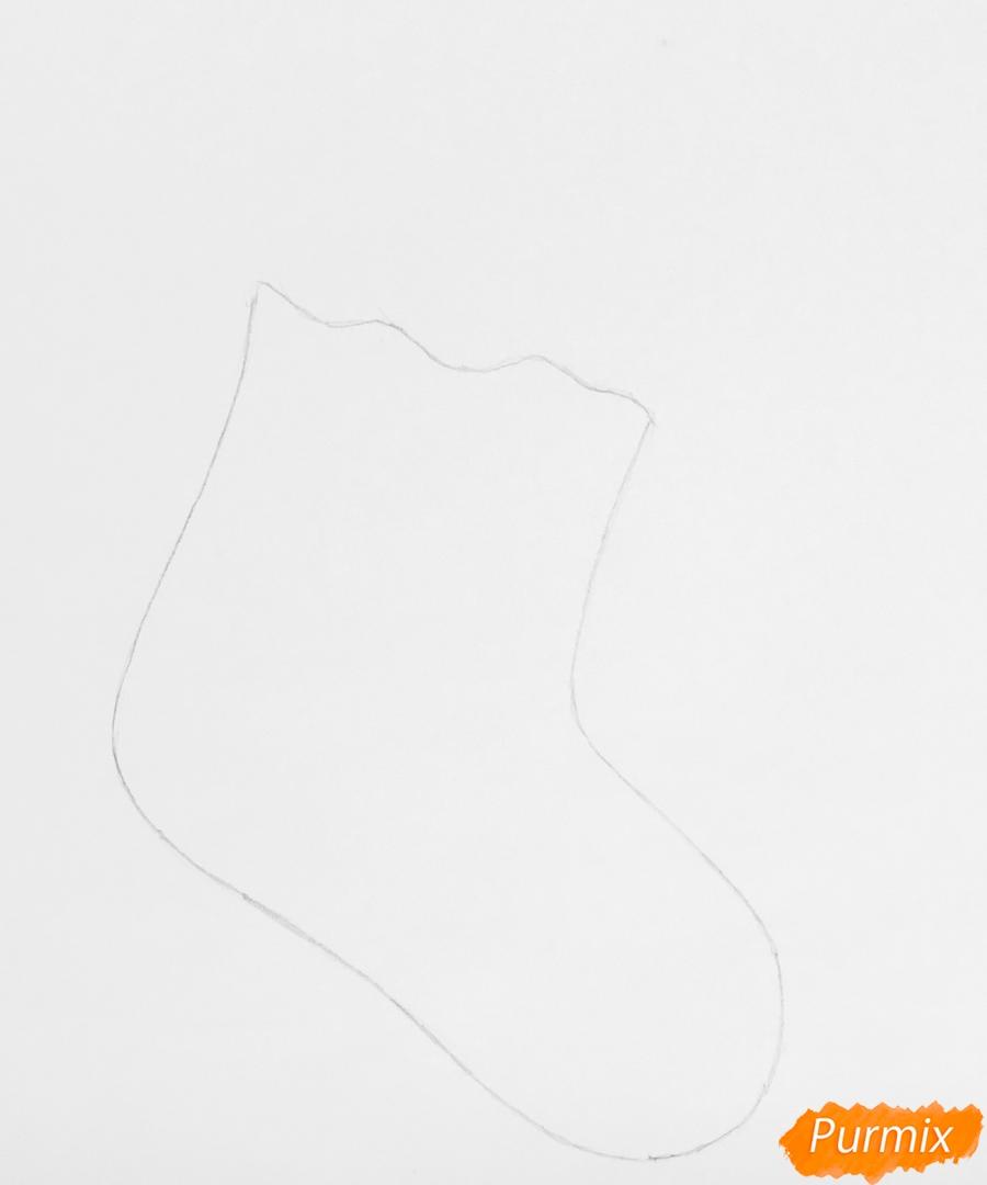 Рисуем зелёный рождественский носок с эльфом - шаг 1