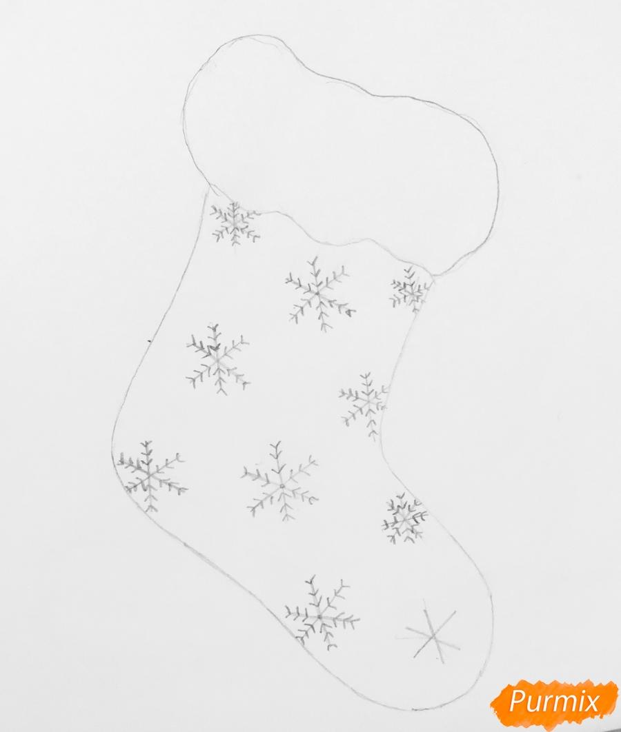 Рисуем зелёный рождественский носок с эльфом - шаг 2