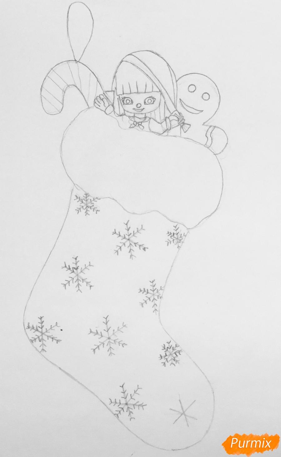 Рисуем зелёный рождественский носок с эльфом - шаг 3