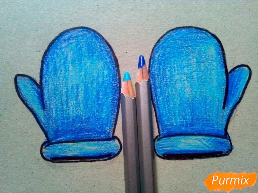 Рисуем зимние варежки просто для детей - шаг 5