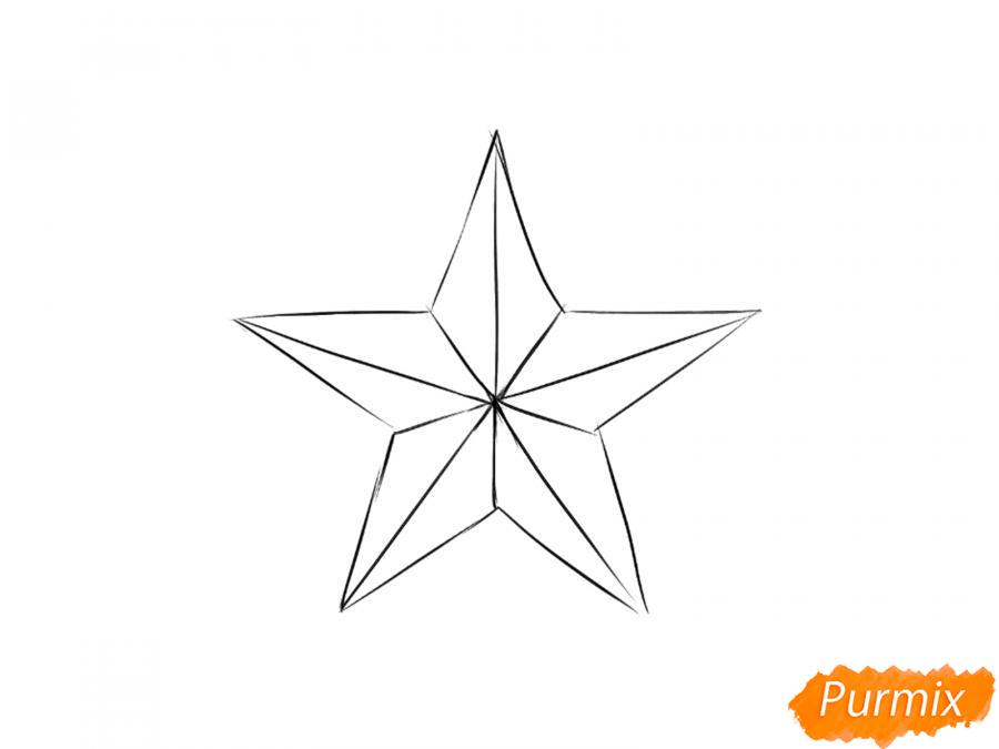 Рисуем звезду на 9 мая карандашами - шаг 5