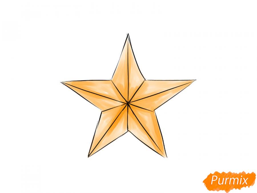 Рисуем звезду на 9 мая карандашами - шаг 6