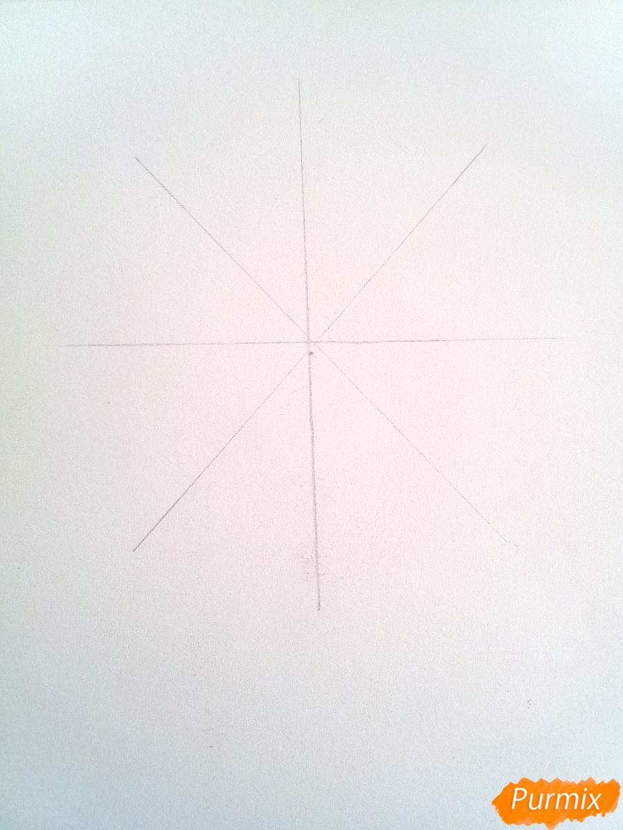 Как просто нарисовать снежинку цветными карандашами - шаг 1