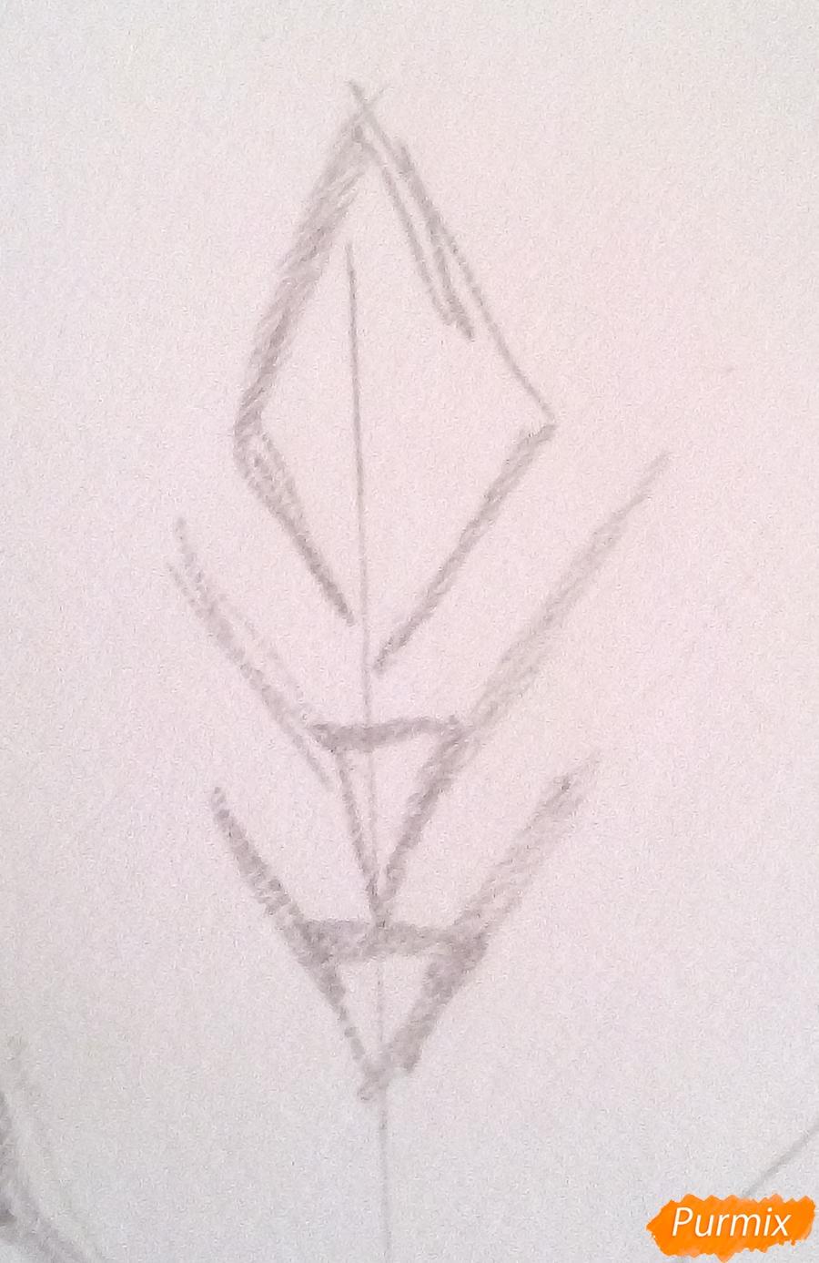 Как просто нарисовать снежинку цветными карандашами - шаг 2