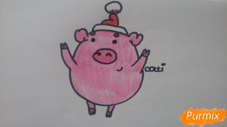 Как просто нарисовать свинью в новогодней шапочке ребенку - шаг 10