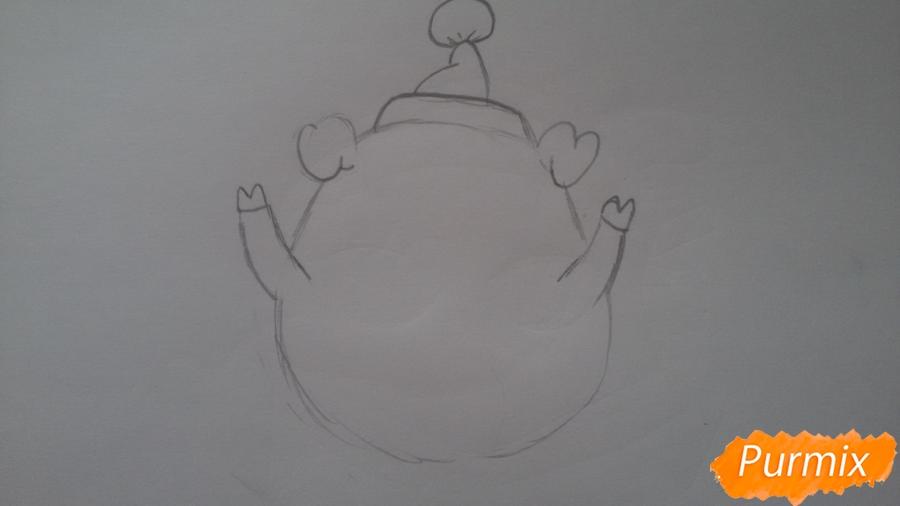 Как просто нарисовать свинью в новогодней шапочке ребенку - шаг 3