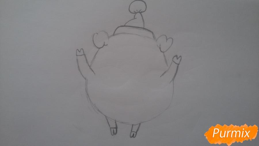 Как просто нарисовать свинью в новогодней шапочке ребенку - шаг 4