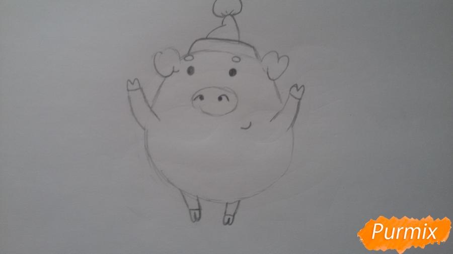 Как просто нарисовать свинью в новогодней шапочке ребенку - шаг 5