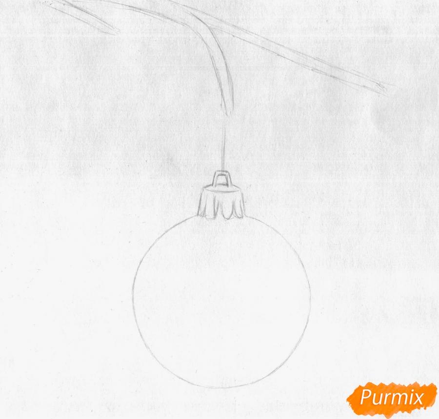 Рисуем ветку ели с новогодней игрушкой - шаг 1