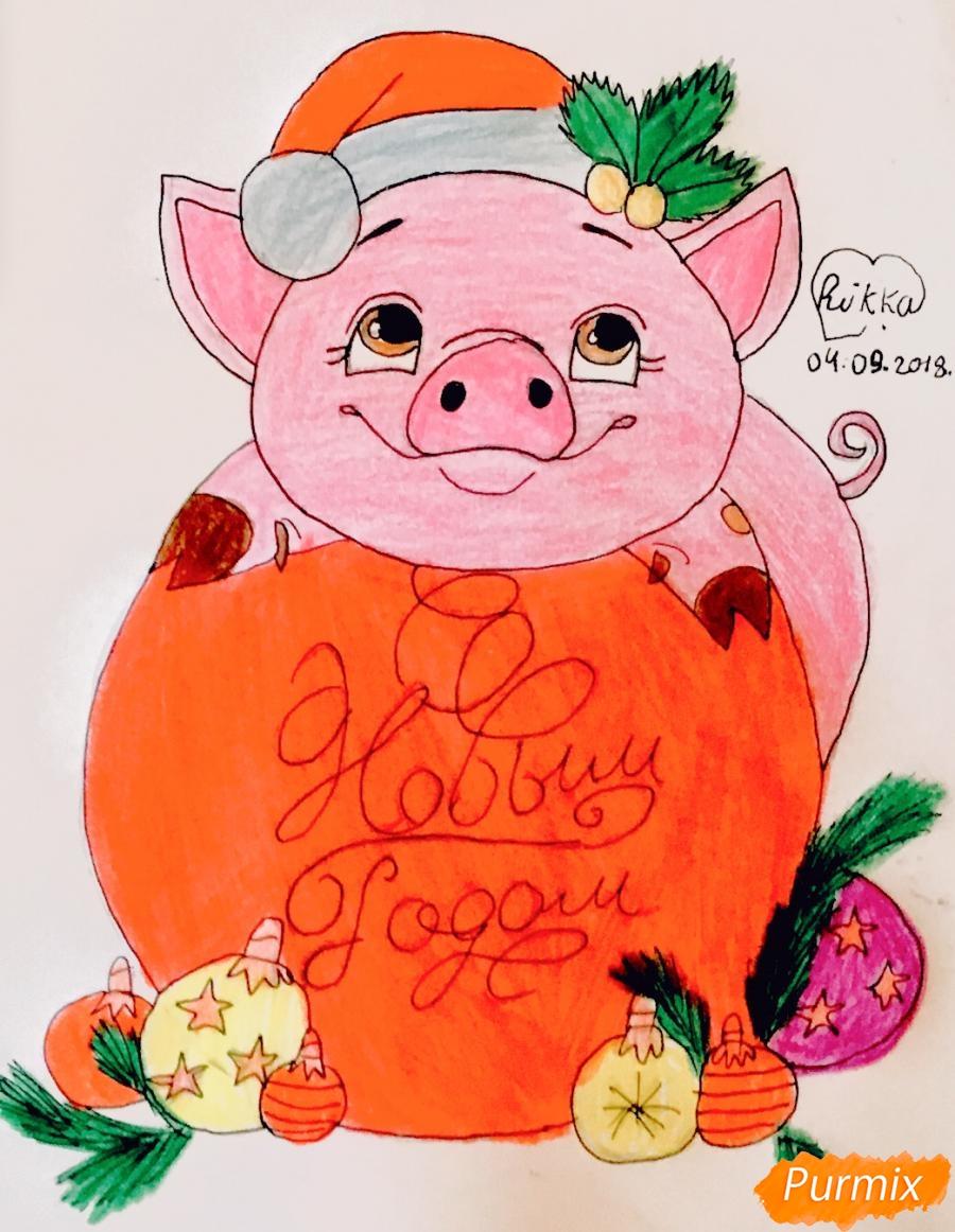 Милая свинка с большой надписью С Новым годом - шаг 13