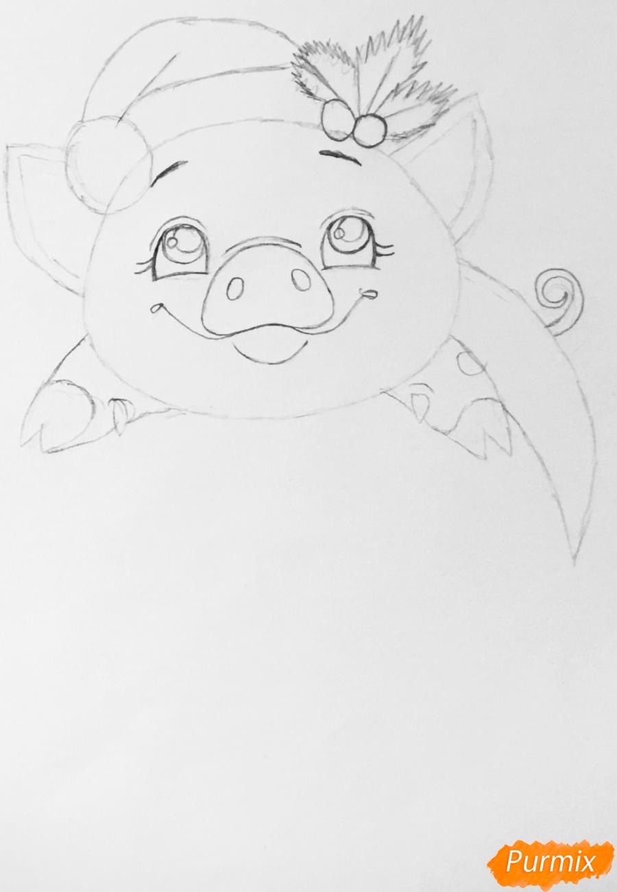 Милая свинка с большой надписью С Новым годом - шаг 4