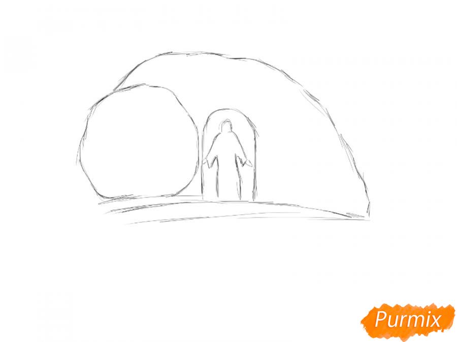 Открытка к Пасхе: пещера и Христос - шаг 1