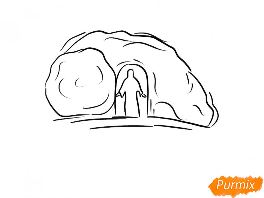 Открытка к Пасхе: пещера и Христос - шаг 2