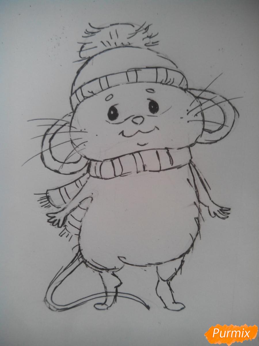 Рисуем милого новогоднего мышонка - шаг 3