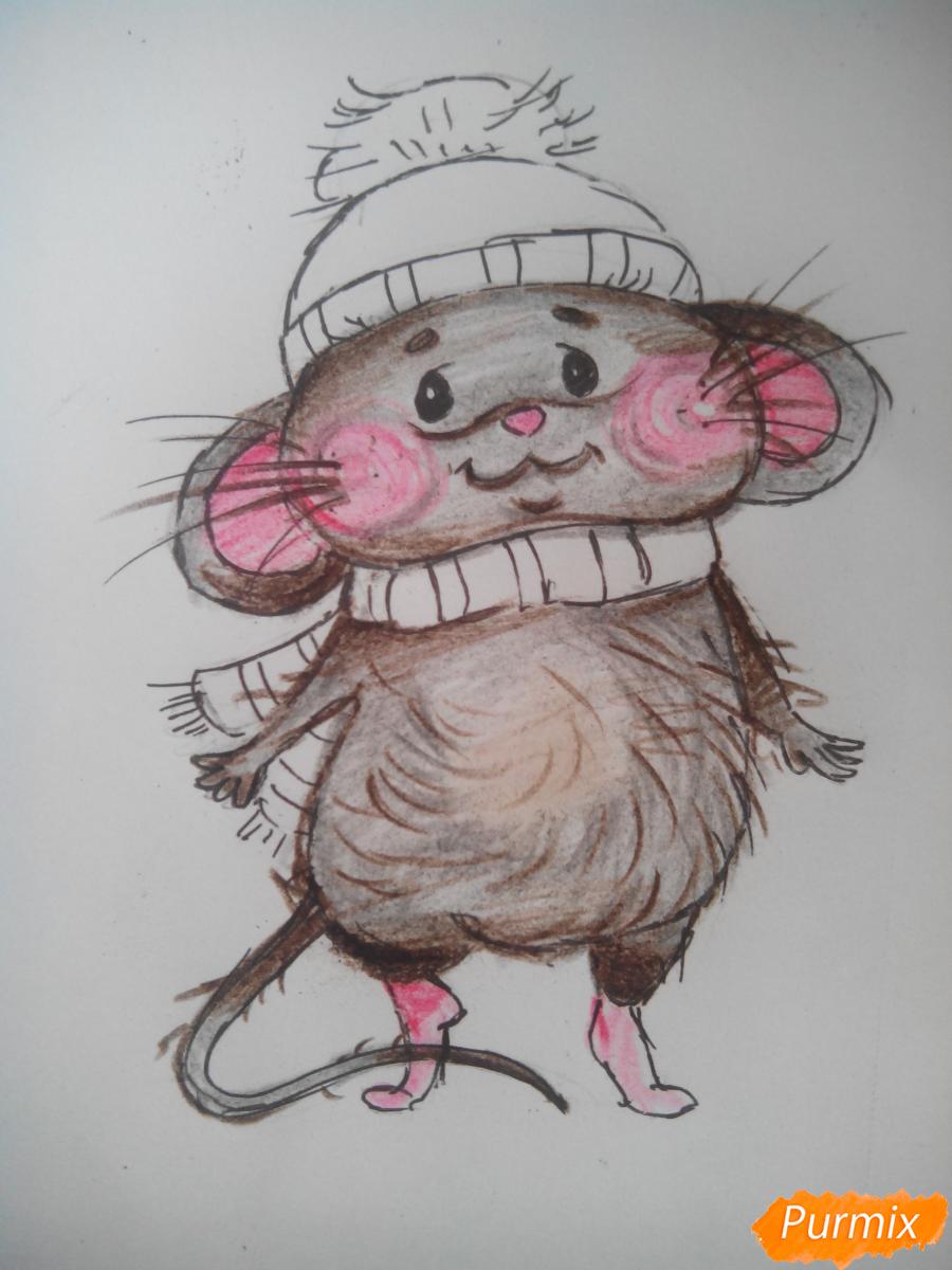 Рисуем милого новогоднего мышонка - шаг 4