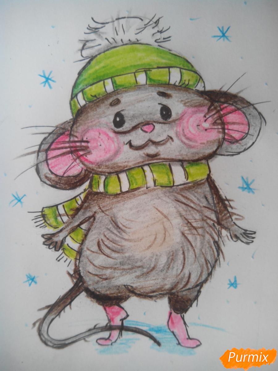 Рисуем милого новогоднего мышонка - шаг 5