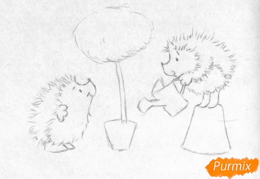 Рисуем двух ежиков и дерево с сердечками на День святого Валентина цветными карандашами - шаг 1