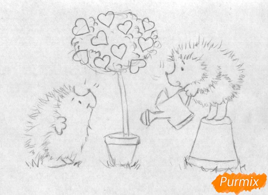 Рисуем двух ежиков и дерево с сердечками на День святого Валентина цветными карандашами - шаг 2