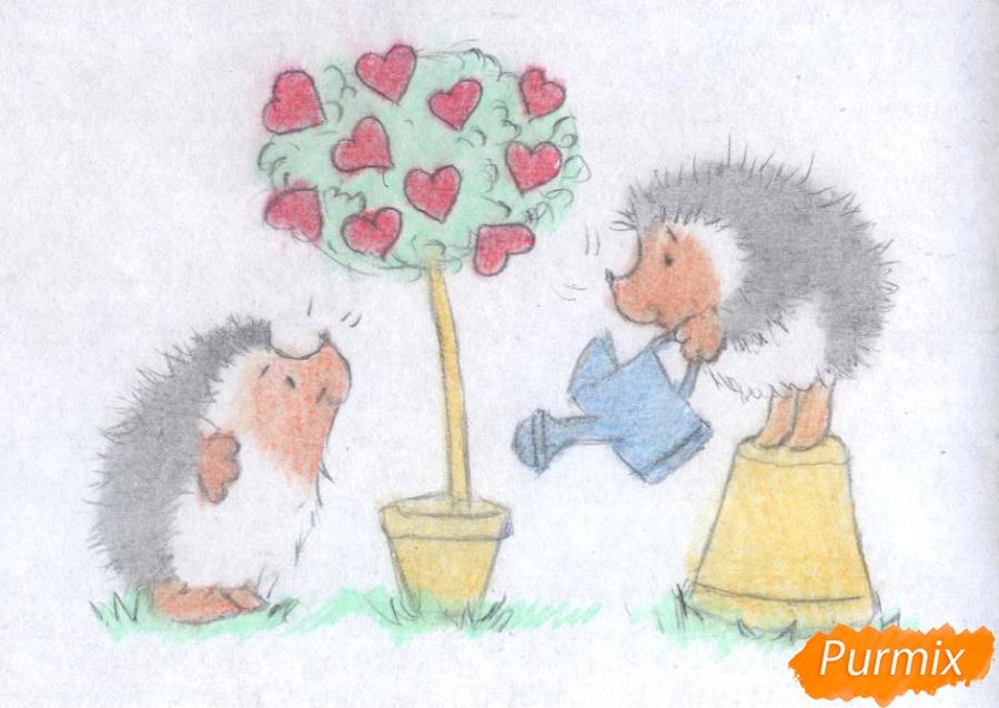 Рисуем двух ежиков и дерево с сердечками на День святого Валентина цветными карандашами - шаг 3