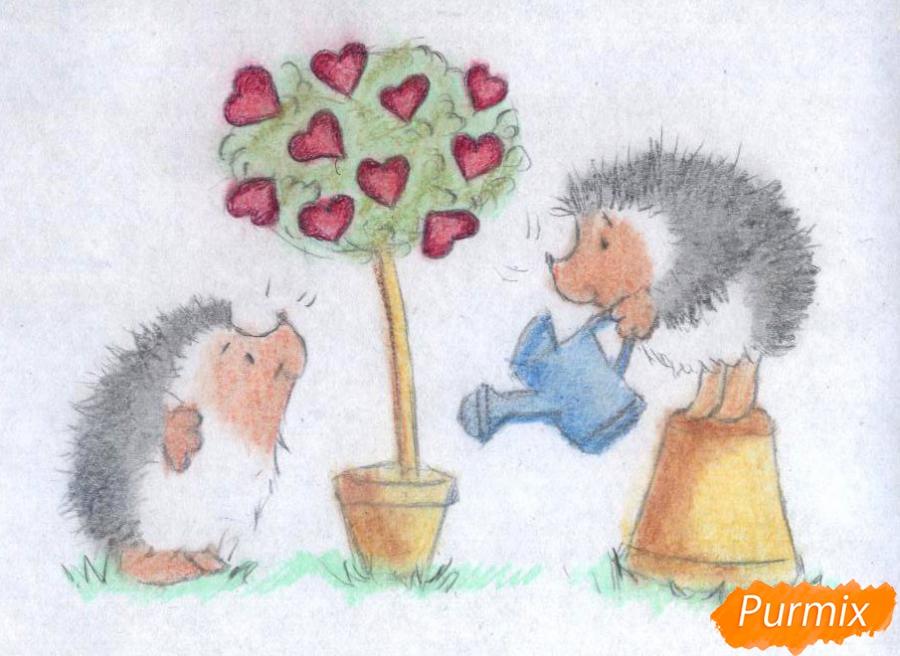 Рисуем двух ежиков и дерево с сердечками на День святого Валентина цветными карандашами - шаг 4