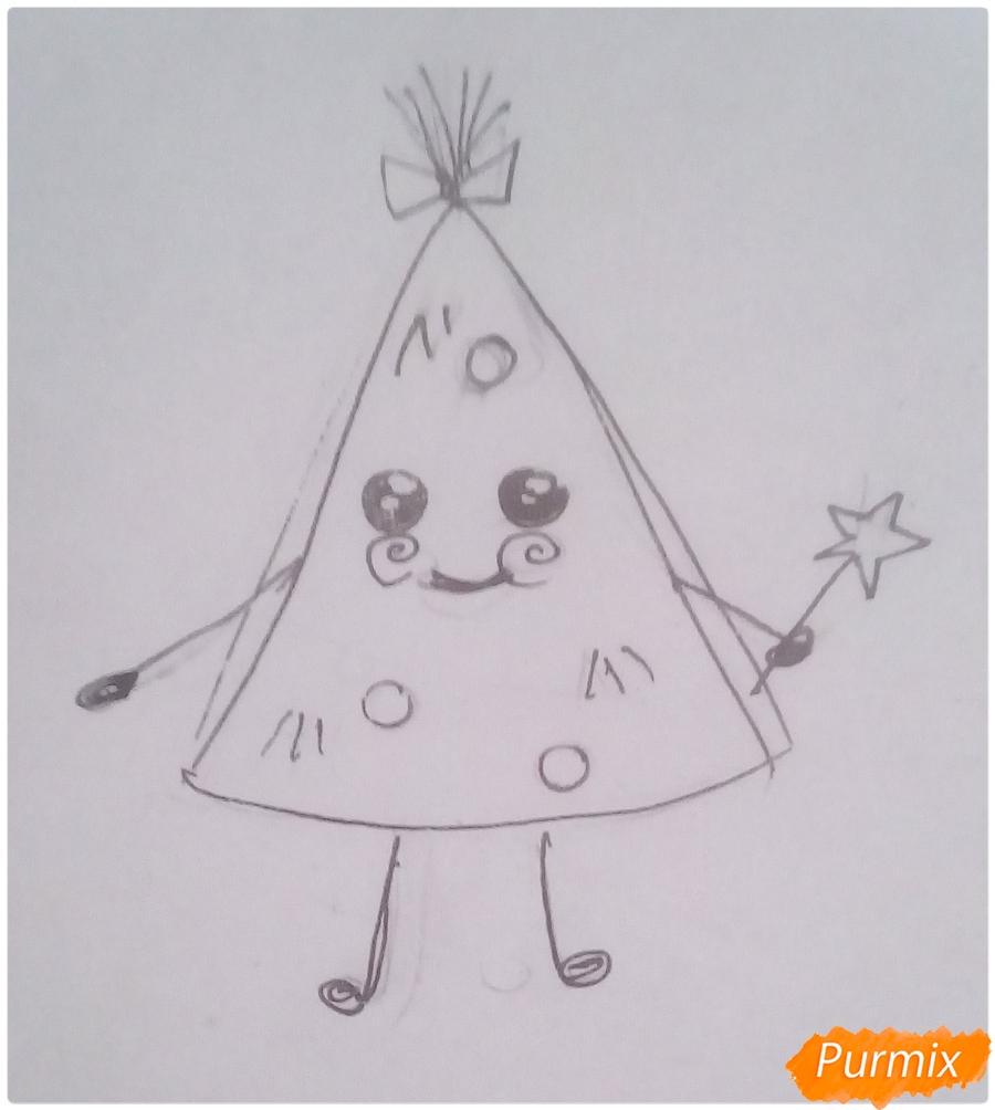 Рисуем ёлкочку с ручками и ножками - шаг 3