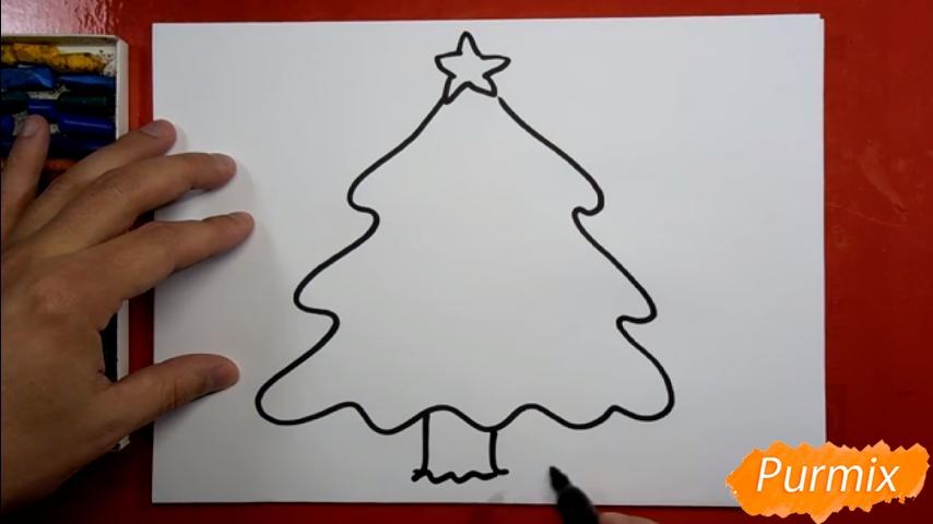 Рисуем ёлку для детей - шаг 2