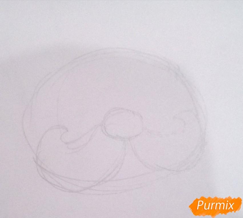 Рисуем голову милого Деда Мороза - шаг 1