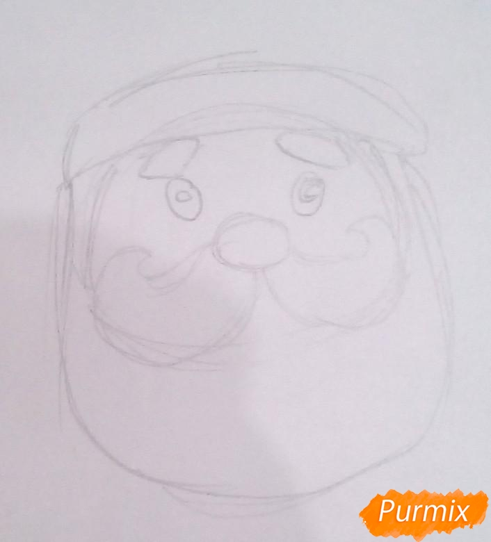 Рисуем голову милого Деда Мороза - шаг 2