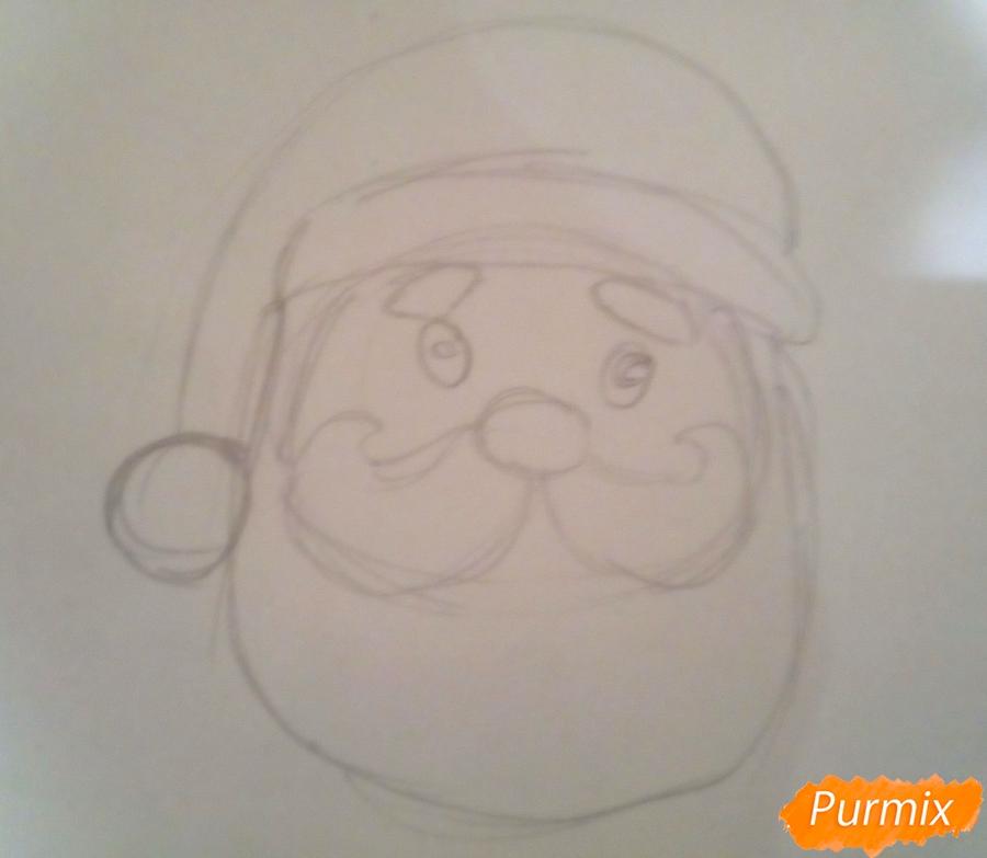 Рисуем голову милого Деда Мороза - шаг 3